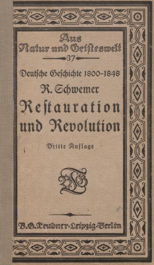 Restauration und Revolution : Skizzen zur Entwicklungsgeschichte der deutschen Einheit by